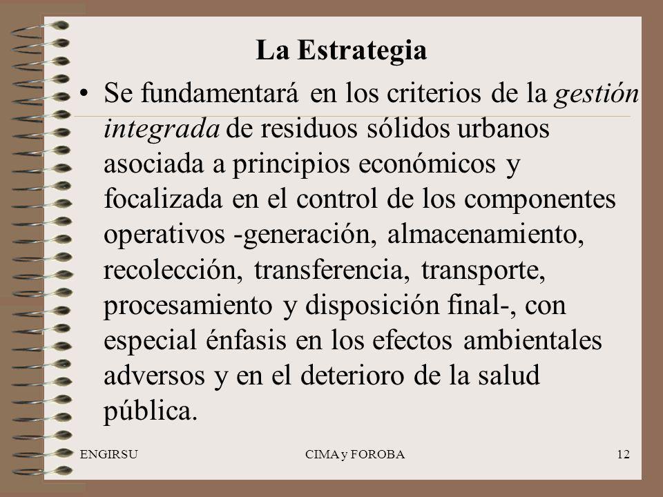 ENGIRSUCIMA y FOROBA12 La Estrategia Se fundamentará en los criterios de la gestión integrada de residuos sólidos urbanos asociada a principios económ