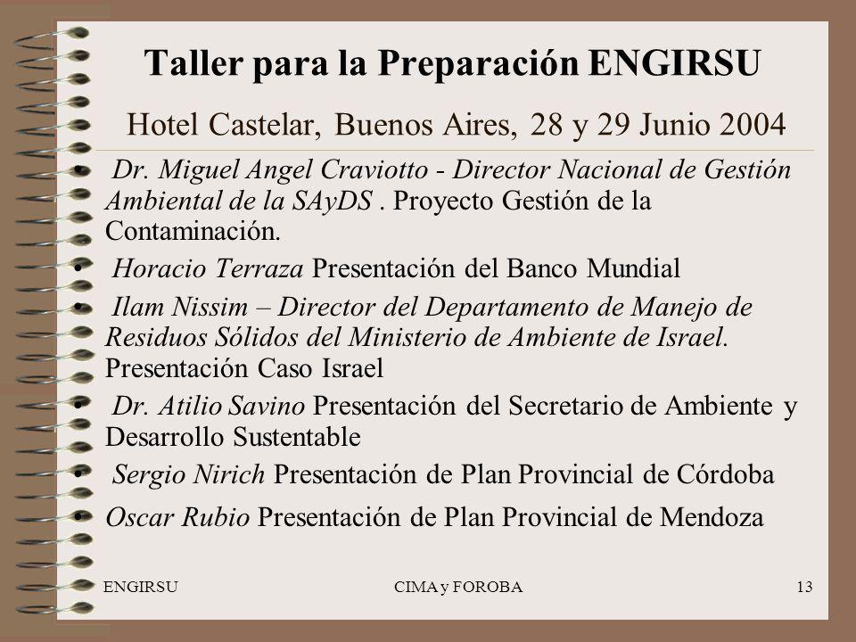 ENGIRSUCIMA y FOROBA13 Taller para la Preparación ENGIRSU Hotel Castelar, Buenos Aires, 28 y 29 Junio 2004 Dr.