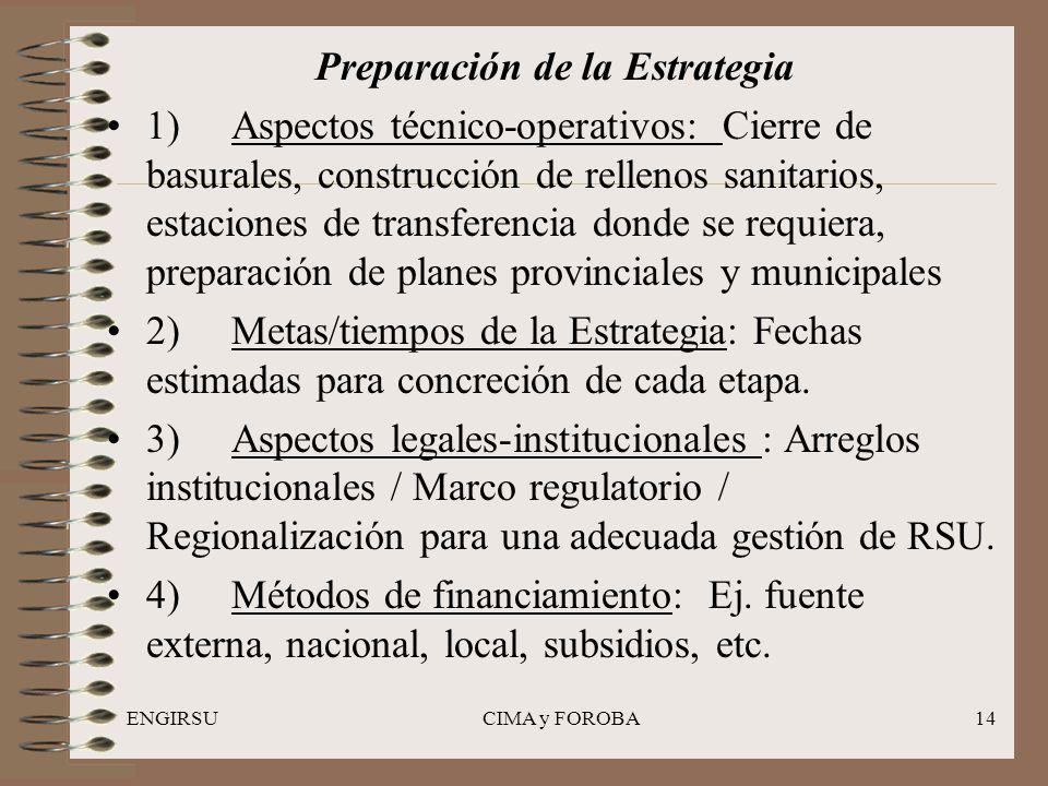 ENGIRSUCIMA y FOROBA14 Preparación de la Estrategia 1) Aspectos técnico-operativos: Cierre de basurales, construcción de rellenos sanitarios, estacion
