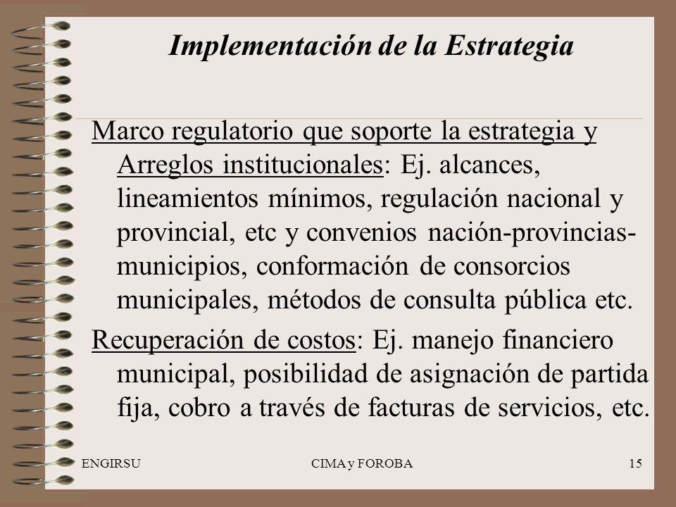 ENGIRSUCIMA y FOROBA15 Implementación de la Estrategia Marco regulatorio que soporte la estrategia y Arreglos institucionales: Ej.