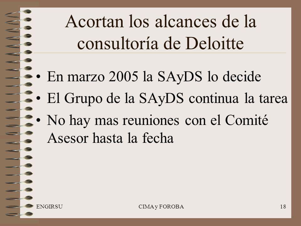 ENGIRSUCIMA y FOROBA18 Acortan los alcances de la consultoría de Deloitte En marzo 2005 la SAyDS lo decide El Grupo de la SAyDS continua la tarea No hay mas reuniones con el Comité Asesor hasta la fecha