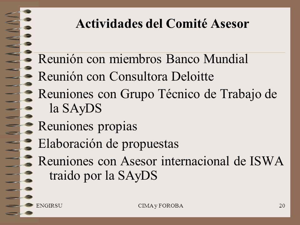 ENGIRSUCIMA y FOROBA20 Actividades del Comité Asesor Reunión con miembros Banco Mundial Reunión con Consultora Deloitte Reuniones con Grupo Técnico de
