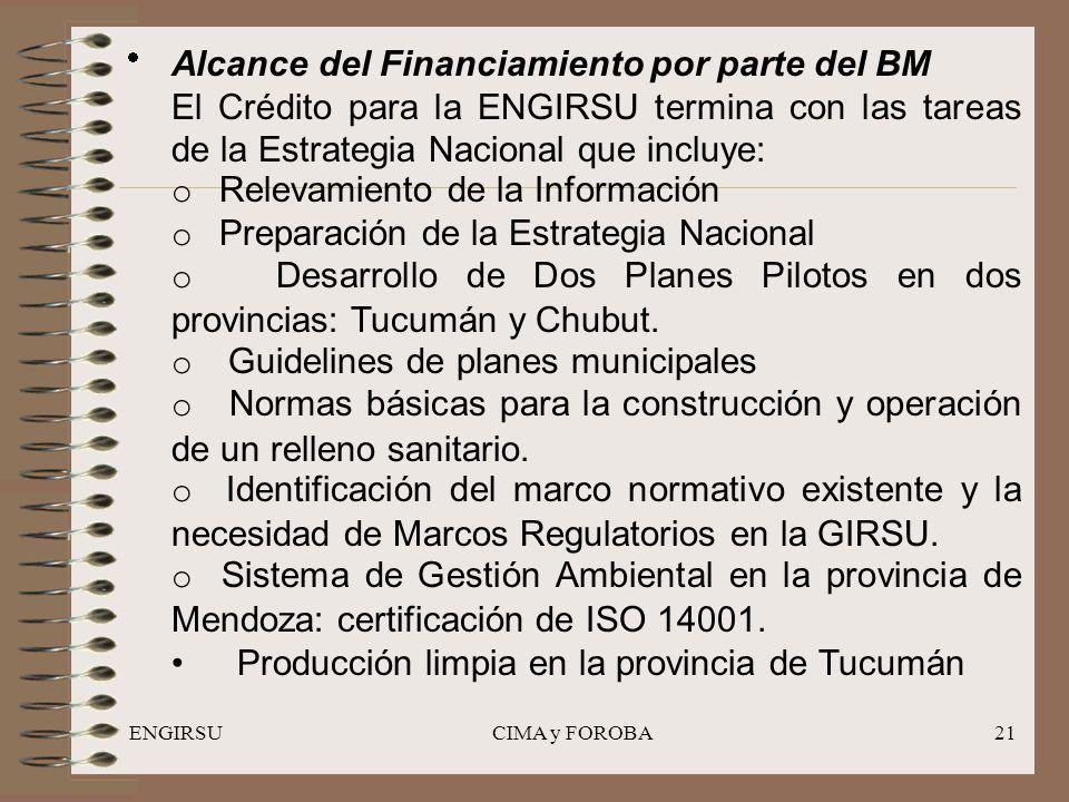 ENGIRSUCIMA y FOROBA21 Alcance del Financiamiento por parte del BM El Crédito para la ENGIRSU termina con las tareas de la Estrategia Nacional que incluye: o Relevamiento de la Información o Preparación de la Estrategia Nacional o Desarrollo de Dos Planes Pilotos en dos provincias: Tucumán y Chubut.