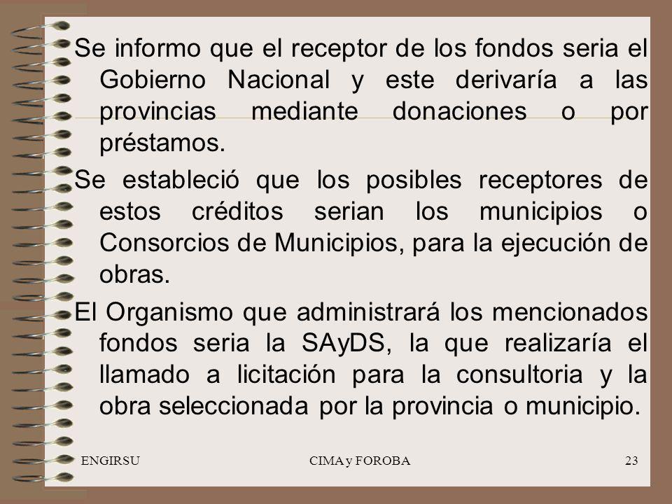 ENGIRSUCIMA y FOROBA23 Se informo que el receptor de los fondos seria el Gobierno Nacional y este derivaría a las provincias mediante donaciones o por préstamos.