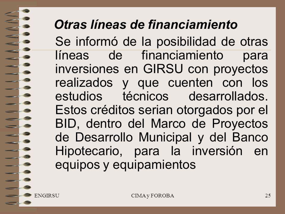 ENGIRSUCIMA y FOROBA25 Otras líneas de financiamiento Se informó de la posibilidad de otras líneas de financiamiento para inversiones en GIRSU con proyectos realizados y que cuenten con los estudios técnicos desarrollados.