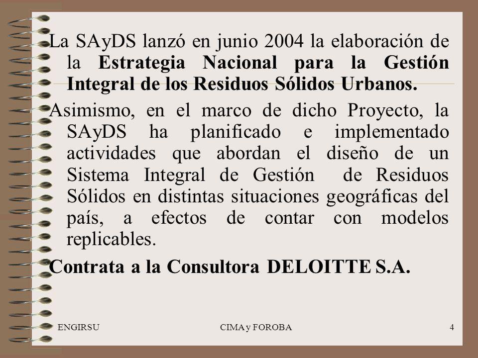 ENGIRSUCIMA y FOROBA4 La SAyDS lanzó en junio 2004 la elaboración de la Estrategia Nacional para la Gestión Integral de los Residuos Sólidos Urbanos.