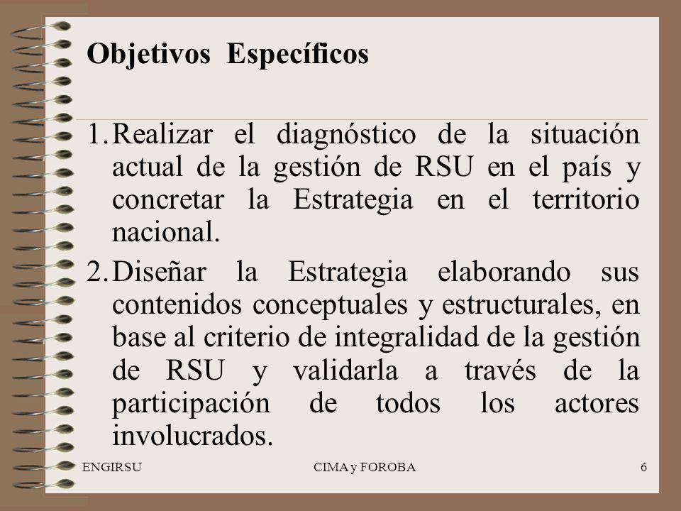 ENGIRSUCIMA y FOROBA6 Objetivos Específicos 1.Realizar el diagnóstico de la situación actual de la gestión de RSU en el país y concretar la Estrategia en el territorio nacional.