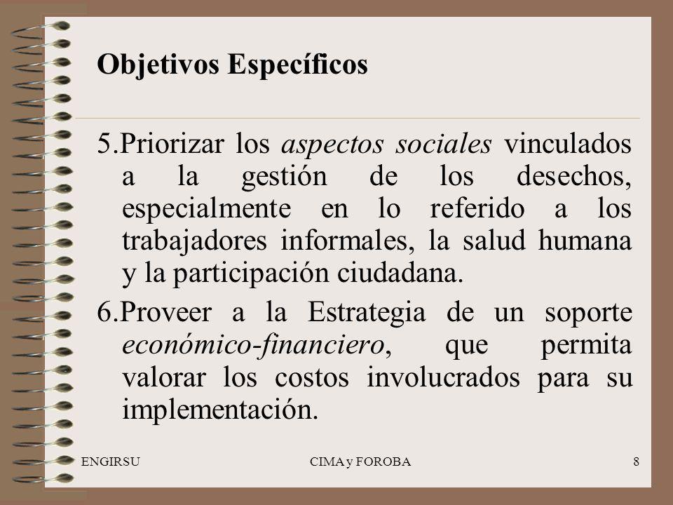 ENGIRSUCIMA y FOROBA8 Objetivos Específicos 5.Priorizar los aspectos sociales vinculados a la gestión de los desechos, especialmente en lo referido a los trabajadores informales, la salud humana y la participación ciudadana.