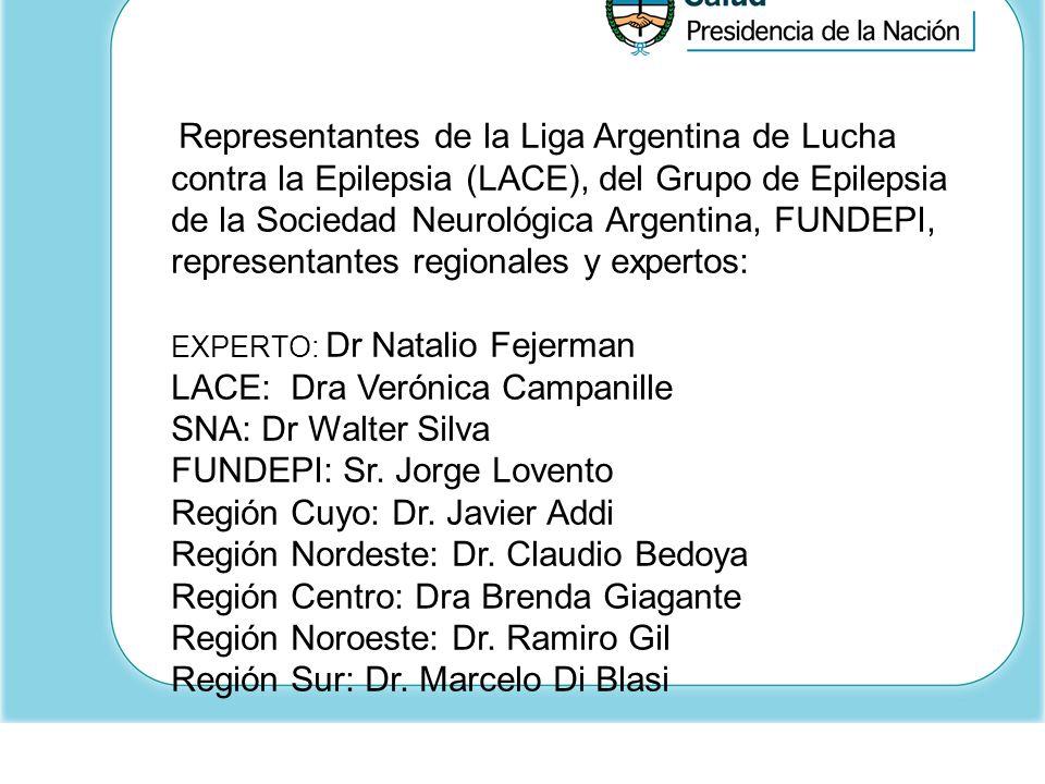 Representantes de la Liga Argentina de Lucha contra la Epilepsia (LACE), del Grupo de Epilepsia de la Sociedad Neurológica Argentina, FUNDEPI, represe