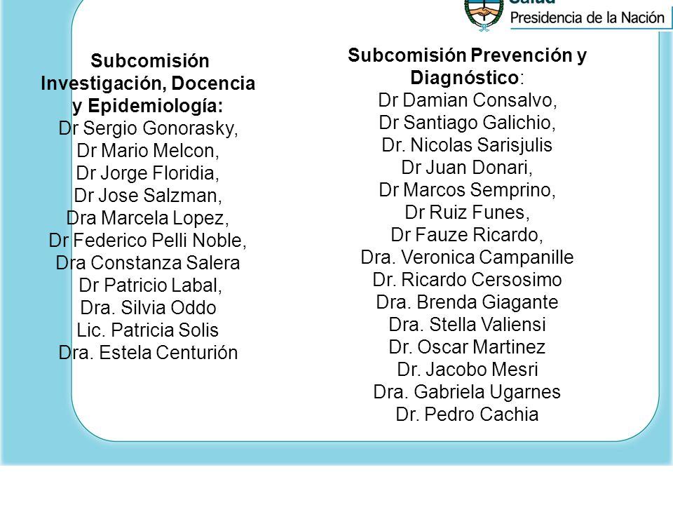 Subcomisión Investigación, Docencia y Epidemiología: Dr Sergio Gonorasky, Dr Mario Melcon, Dr Jorge Floridia, Dr Jose Salzman, Dra Marcela Lopez, Dr F