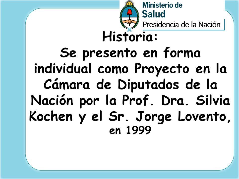 Historia: Se presento en forma individual como Proyecto en la Cámara de Diputados de la Nación por la Prof. Dra. Silvia Kochen y el Sr. Jorge Lovento,