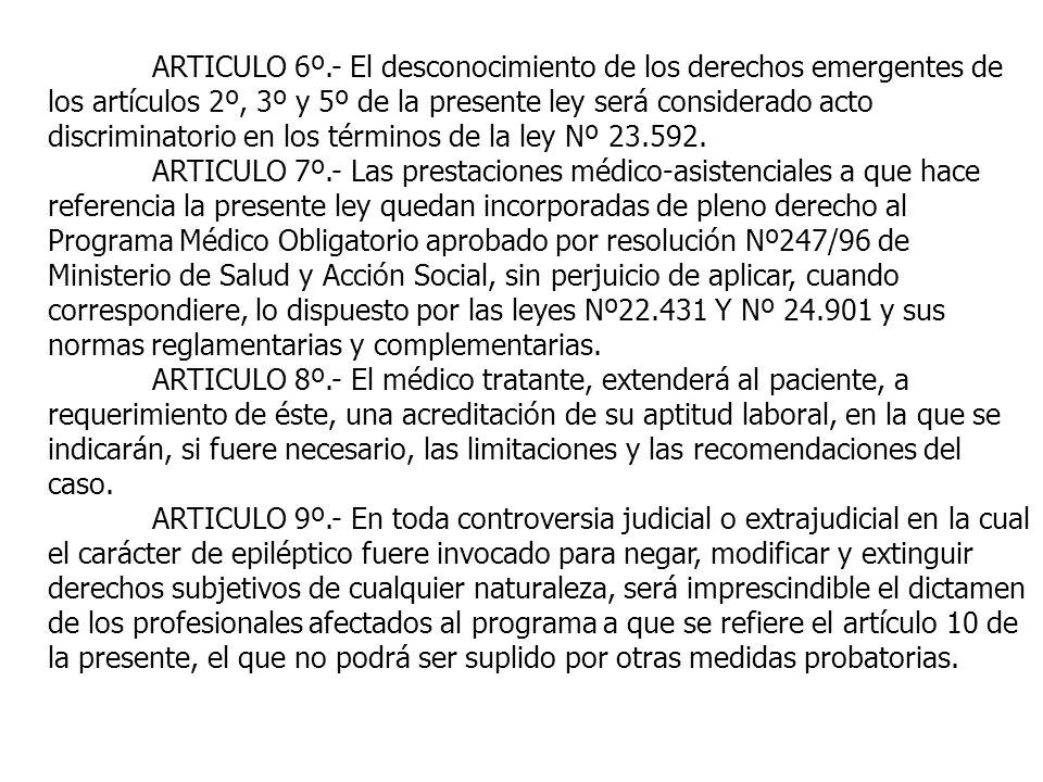 ARTICULO 6º.- El desconocimiento de los derechos emergentes de los artículos 2º, 3º y 5º de la presente ley será considerado acto discriminatorio en l