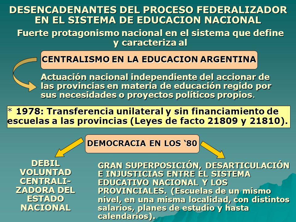 DESENCADENANTES DEL PROCESO FEDERALIZADOR EN EL SISTEMA DE EDUCACION NACIONAL Fuerte protagonismo nacional en el sistema que define y caracteriza al C