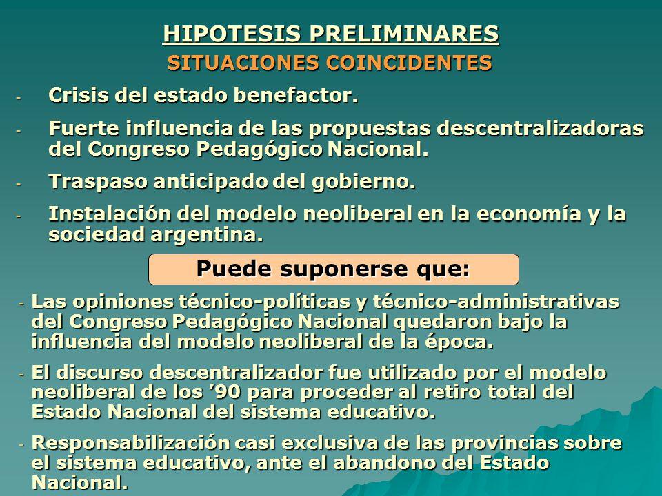 HIPOTESIS PRELIMINARES SITUACIONES COINCIDENTES -C-C-C-Crisis del estado benefactor. -F-F-F-Fuerte influencia de las propuestas descentralizadoras del