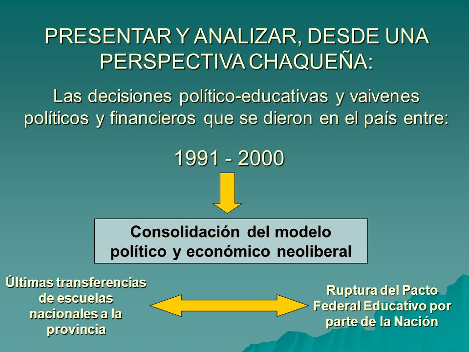 Proceso de descentralización de la administración y el financiamiento del sistema educativo argentino que dio origen a lo que se conoce como FEDERALISMO EDUCATIVO ARGENTINO Tímidos inicios descentralizadores en la década del 50 durante el gobierno de Arturo Frondizi.