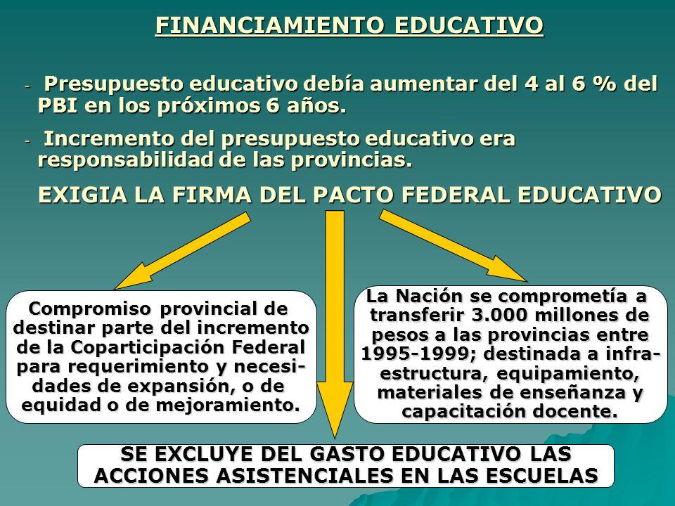 FINANCIAMIENTO EDUCATIVO - P- P- P- Presupuesto educativo debía aumentar del 4 al 6 % del PBI en los próximos 6 años. - I- I- I- Incremento del presup