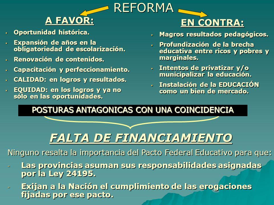 CONGRESO PEDAGOGICO NACIONAL (Embalse, Córdoba, 1988) Asambleas por escuelas previas al Congreso Asamblea general con representantes de todo el país RECLAMO UNANIME FEDERALIZAR LA EDUCACIÓN NO UNIVERSITARIA ARGENTINA Descentra- lizar y no desestatizar Centralismo es igual a autoritarismo y rigidez Democratizar la gestión es igual a descentralizar las decisiones, respon- sabilidades y medios ALERTA - n- n- n- necesidad de mantener la unidad del sistema educativo para mantener la legitimidad e identidad nacional.