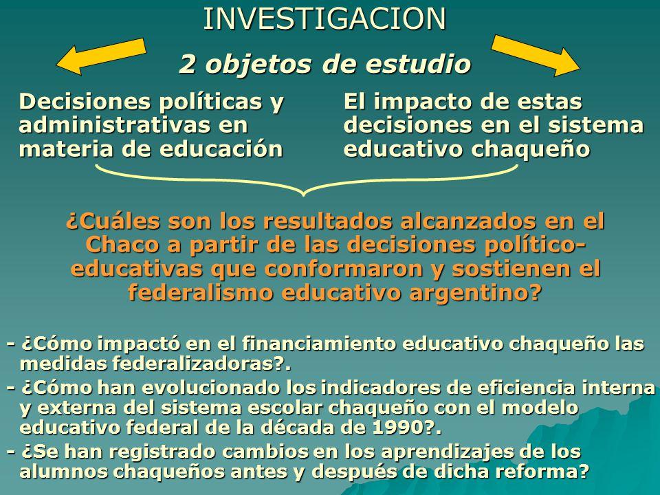 PLANTEL DOCENTE CRECIMIENTO DEL PLANTEL DOCENTE Jurisdicción19941999 Promedio anual Chaco17.32319.212 2,18 % Nación609.264739.856 4,29 % RATIO ALUMNOS POR DOCENTE JURISDICCION19941999 Chaco15,1014,92 Nación13,8211,44 Brecha 1,283,48 GASTO POR ALUMNOS (En pesos) 19941999 883,91086,27