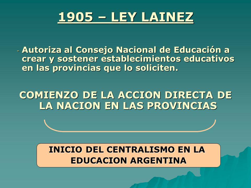 1905 – LEY LAINEZ -A-A-A-Autoriza al Consejo Nacional de Educación a crear y sostener establecimientos educativos en las provincias que lo soliciten.