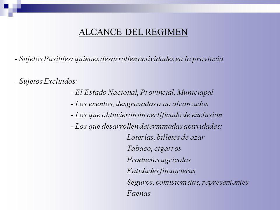 - Sujetos Pasibles: quienes desarrollen actividades en la provincia - Sujetos Excluidos: - El Estado Nacional, Provincial, Municiapal - Los exentos, d