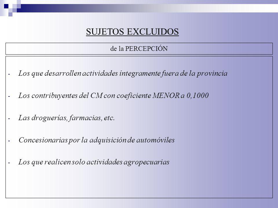 - Los que desarrollen actividades íntegramente fuera de la provincia - Los contribuyentes del CM con coeficiente MENOR a 0,1000 - Las droguerías, farm