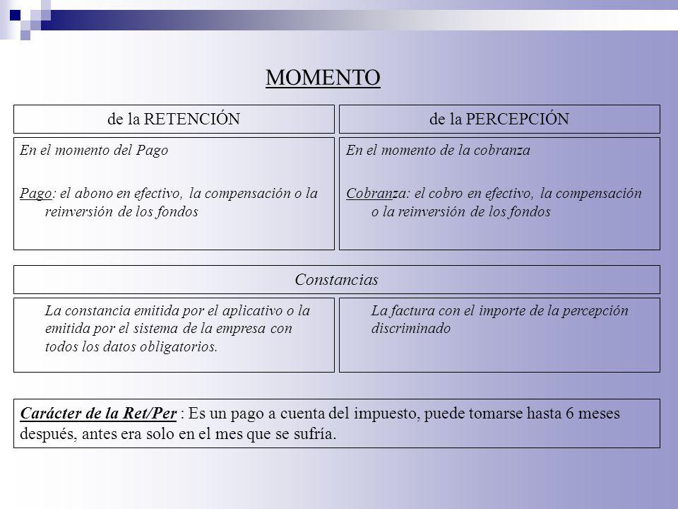 En el momento del Pago Pago: el abono en efectivo, la compensación o la reinversión de los fondos MOMENTO de la RETENCIÓNde la PERCEPCIÓN En el moment