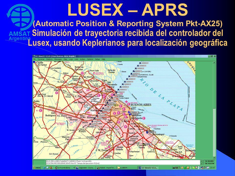 AMSAT Argentina LUSEX – APRS (Automatic Position & Reporting System Pkt-AX25) Simulación de trayectoria recibida del controlador del Lusex, usando Kep