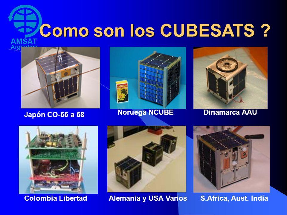 AMSAT Argentina Como son los CUBESATS ? Japón CO-55 a 58 Noruega NCUBEDinamarca AAU Colombia LibertadAlemania y USA VariosS.Africa, Aust. India