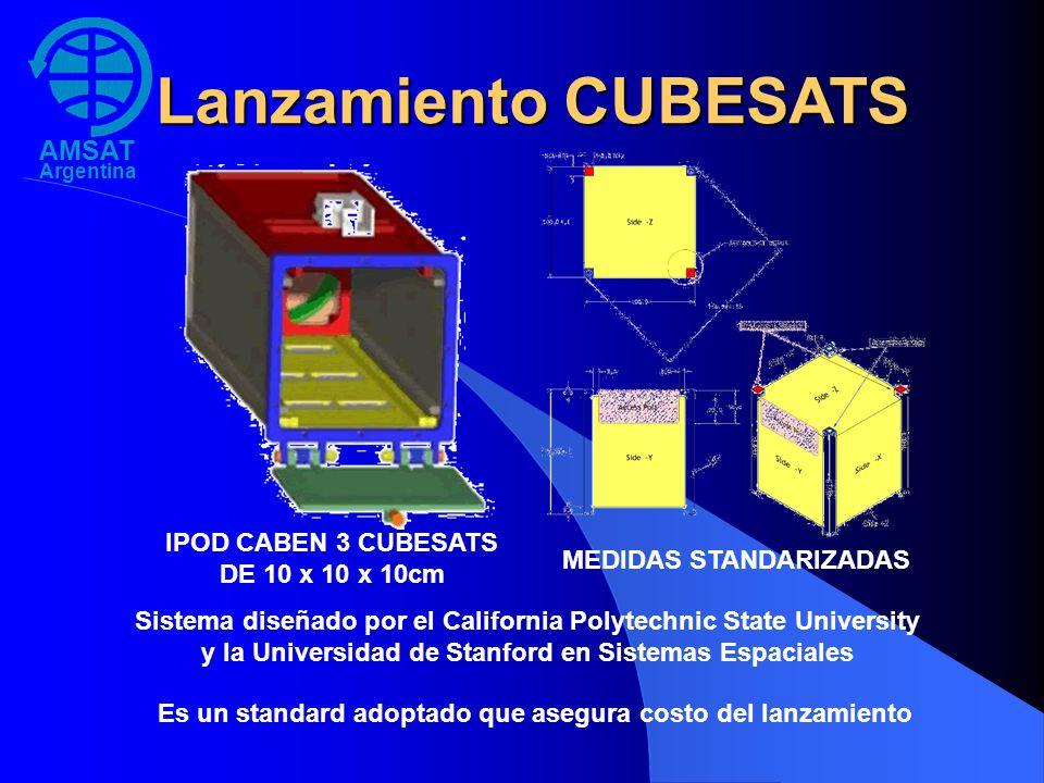 AMSAT Argentina Lanzamiento CUBESATS IPOD CABEN 3 CUBESATS DE 10 x 10 x 10cm MEDIDAS STANDARIZADAS Sistema diseñado por el California Polytechnic Stat