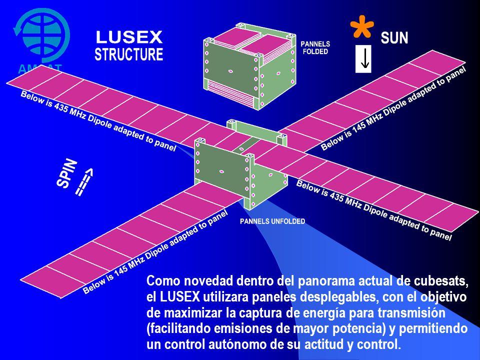 AMSAT Argentina Como novedad dentro del panorama actual de cubesats, el LUSEX utilizara paneles desplegables, con el objetivo de maximizar la captura