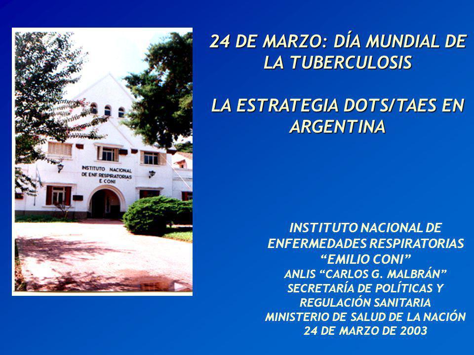 LA ESTRATEGIA DOTS/TAES EN ARGENTINA SITUACIÓN DE LA TUBERCULOSIS COMPONENTES DE LA ESTRATEGIA DOTS/TAES LEMA DEL DÍA MUNDIAL 2003 ACTIVIDADES DE EXPANSIÓN DE L TAES