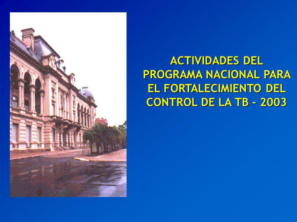 ACTIVIDADES DEL PROGRAMA NACIONAL PARA EL FORTALECIMIENTO DEL CONTROL DE LA TB - 2003