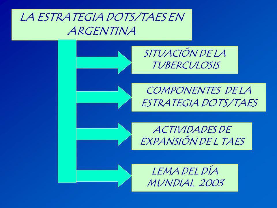 LA ESTRATEGIA DOTS/TAES EN ARGENTINA SITUACIÓN DE LA TUBERCULOSIS COMPONENTES DE LA ESTRATEGIA DOTS/TAES LEMA DEL DÍA MUNDIAL 2003 ACTIVIDADES DE EXPA