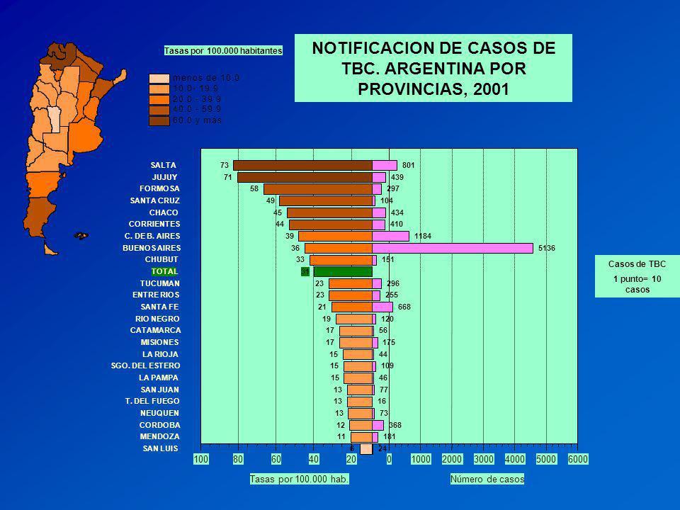 020406080100 Tasas por 100.000 hab. 0100020003000400050006000 Número de casos Tasas por 100.000 habitantes Casos de TBC 1 punto= 10 casos NOTIFICACION
