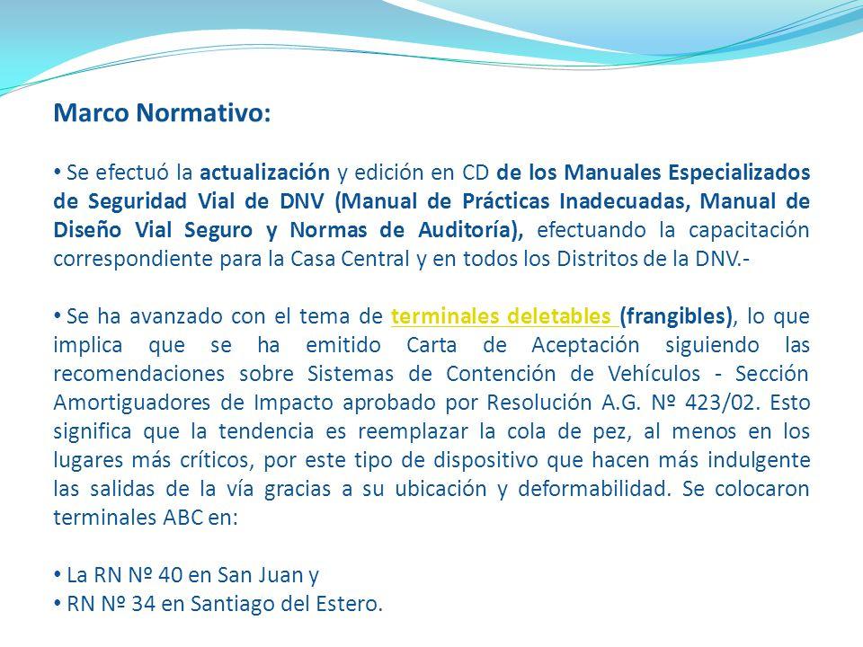 Marco Normativo: Se efectuó la actualización y edición en CD de los Manuales Especializados de Seguridad Vial de DNV (Manual de Prácticas Inadecuadas,
