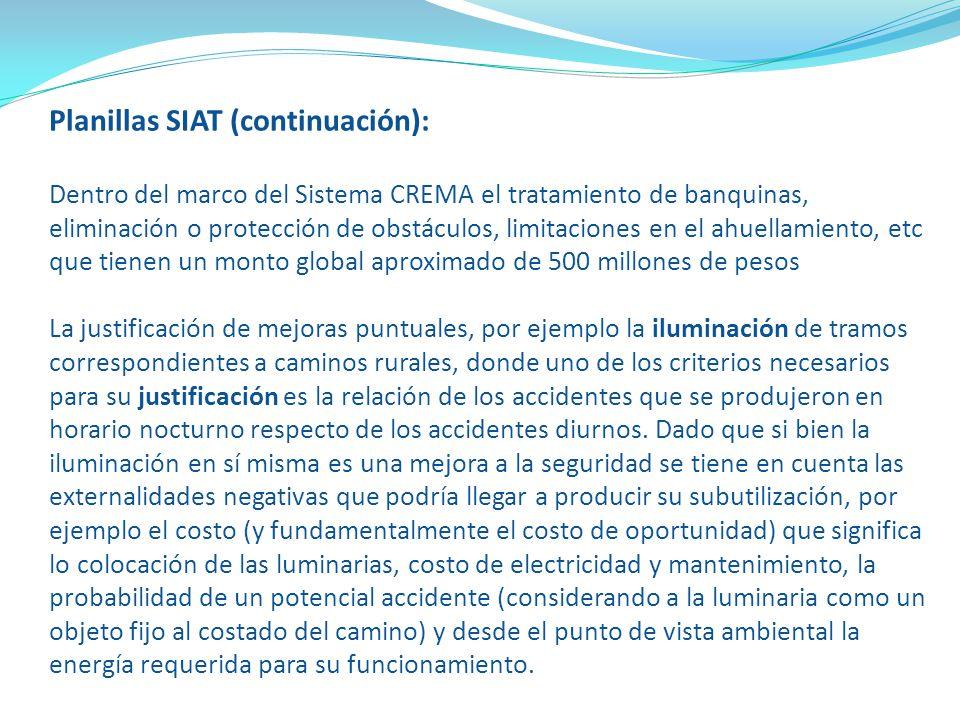 Planillas SIAT (continuación): Dentro del marco del Sistema CREMA el tratamiento de banquinas, eliminación o protección de obstáculos, limitaciones en