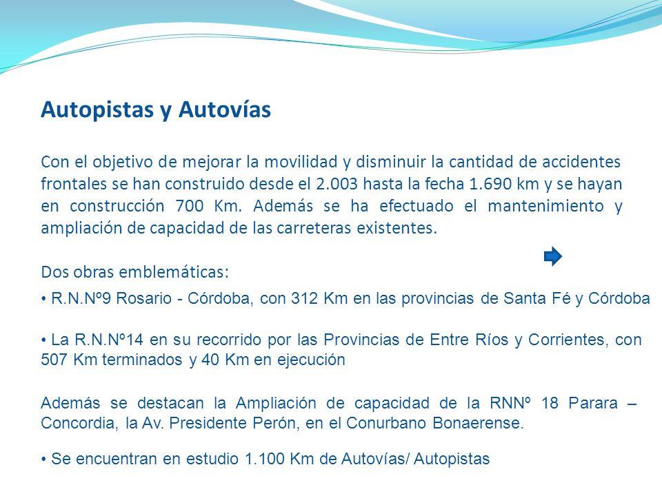 Autopistas y Autovías Con el objetivo de mejorar la movilidad y disminuir la cantidad de accidentes frontales se han construido desde el 2.003 hasta l