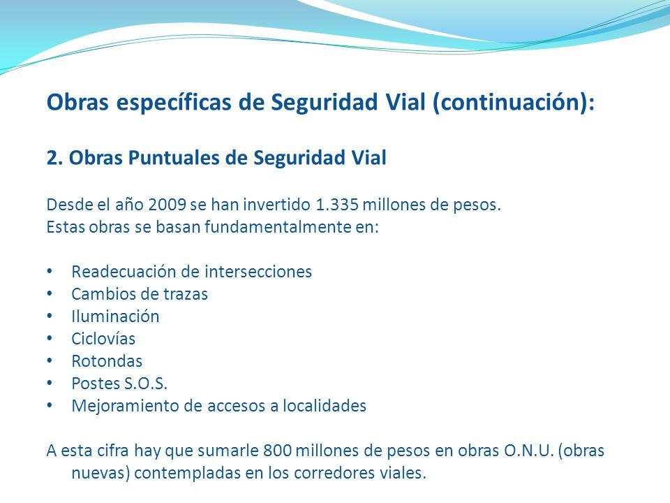 Obras específicas de Seguridad Vial (continuación): 2. Obras Puntuales de Seguridad Vial Desde el año 2009 se han invertido 1.335 millones de pesos. E