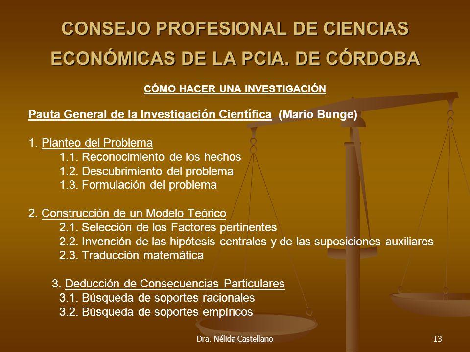 Dra. Nélida Castellano13 CONSEJO PROFESIONAL DE CIENCIAS ECONÓMICAS DE LA PCIA. DE CÓRDOBA CÓMO HACER UNA INVESTIGACIÓN Pauta General de la Investigac