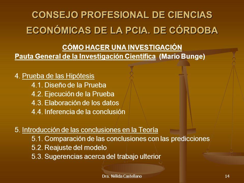 Dra. Nélida Castellano14 CONSEJO PROFESIONAL DE CIENCIAS ECONÓMICAS DE LA PCIA. DE CÓRDOBA CÓMO HACER UNA INVESTIGACIÓN Pauta General de la Investigac