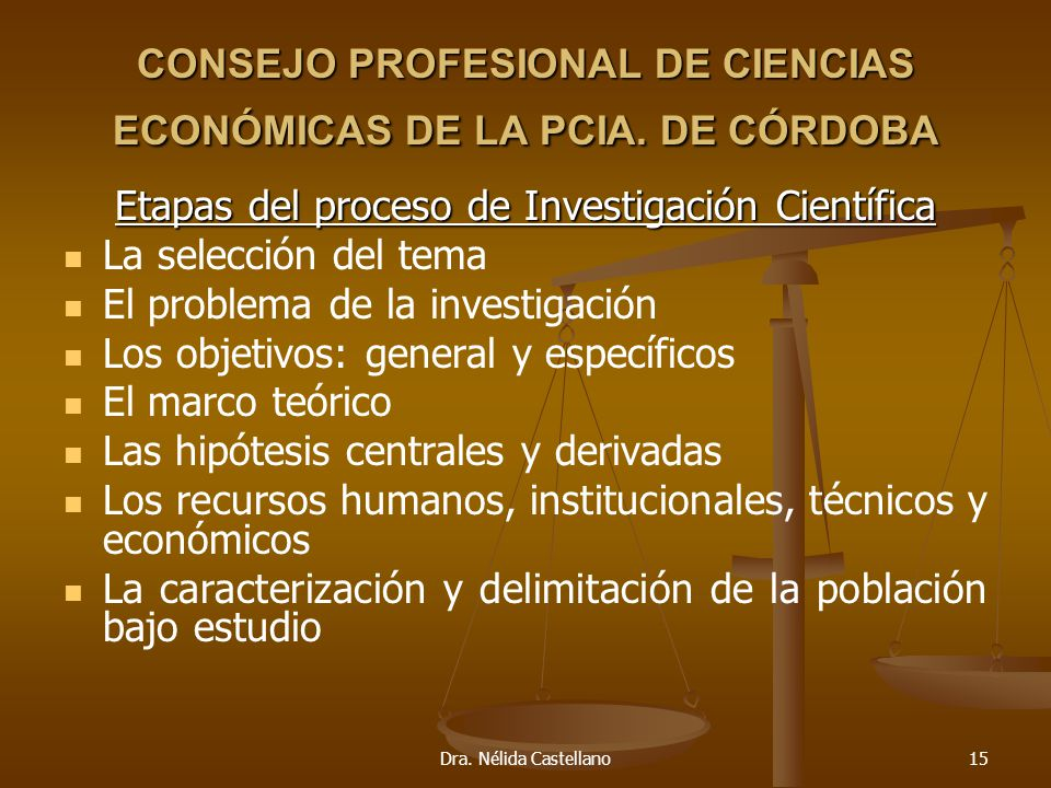 Dra. Nélida Castellano15 CONSEJO PROFESIONAL DE CIENCIAS ECONÓMICAS DE LA PCIA. DE CÓRDOBA Etapas del proceso de Investigación Científica La selección