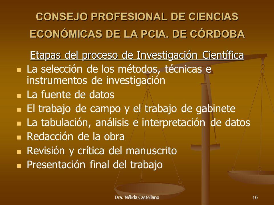 Dra. Nélida Castellano16 CONSEJO PROFESIONAL DE CIENCIAS ECONÓMICAS DE LA PCIA. DE CÓRDOBA Etapas del proceso de Investigación Científica La selección