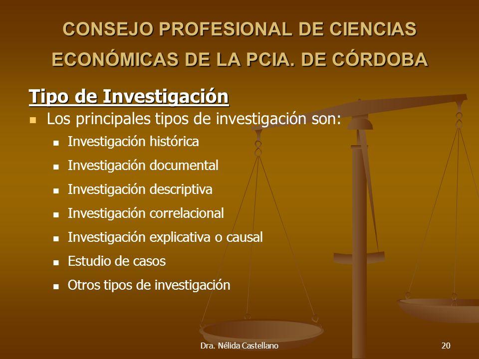 Dra. Nélida Castellano20 CONSEJO PROFESIONAL DE CIENCIAS ECONÓMICAS DE LA PCIA. DE CÓRDOBA Tipo de Investigación Los principales tipos de investigació