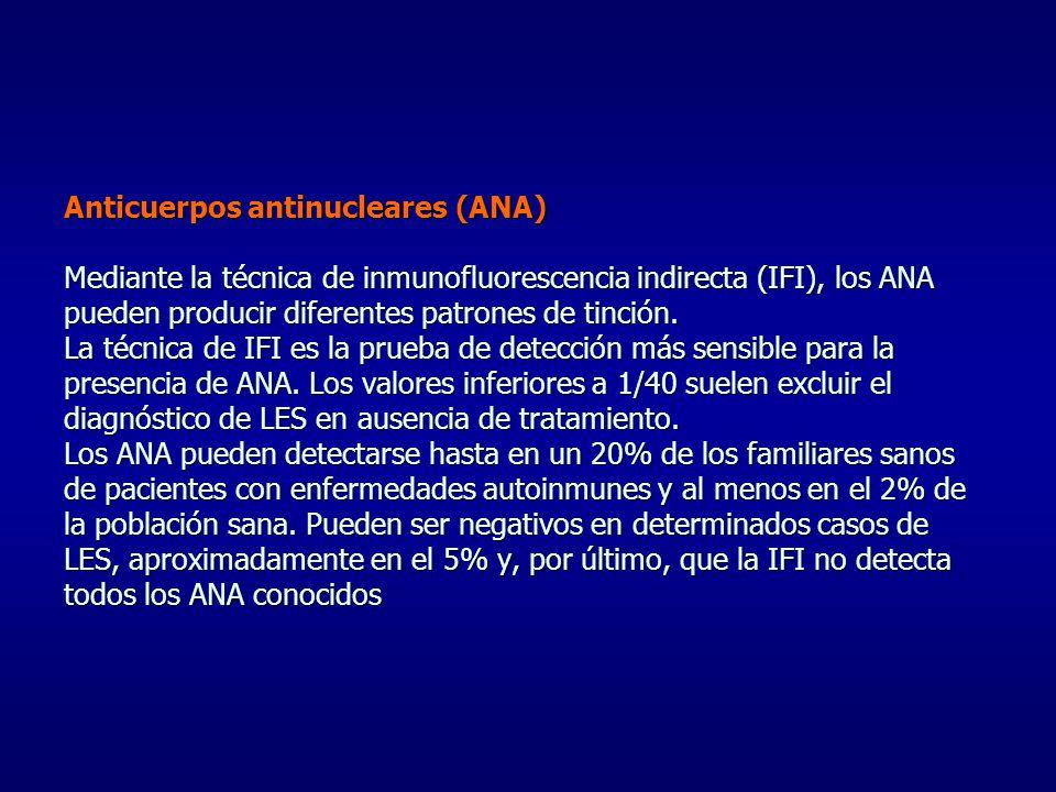 Anticuerpos antinucleares (ANA) Mediante la técnica de inmunofluorescencia indirecta (IFI), los ANA pueden producir diferentes patrones de tinción. La