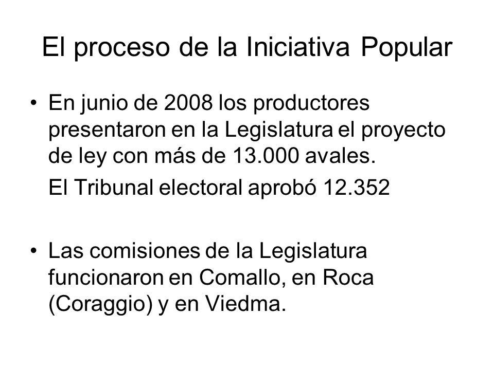 El proceso de la Iniciativa Popular En junio de 2008 los productores presentaron en la Legislatura el proyecto de ley con más de 13.000 avales. El Tri