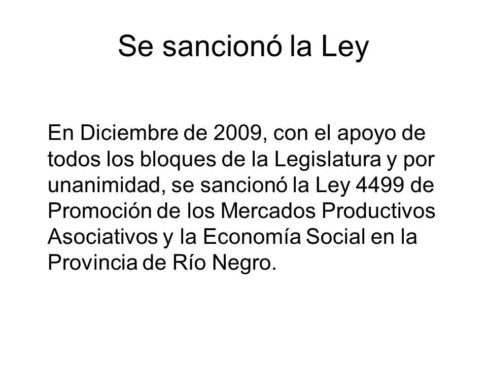 Se sancionó la Ley En Diciembre de 2009, con el apoyo de todos los bloques de la Legislatura y por unanimidad, se sancionó la Ley 4499 de Promoción de