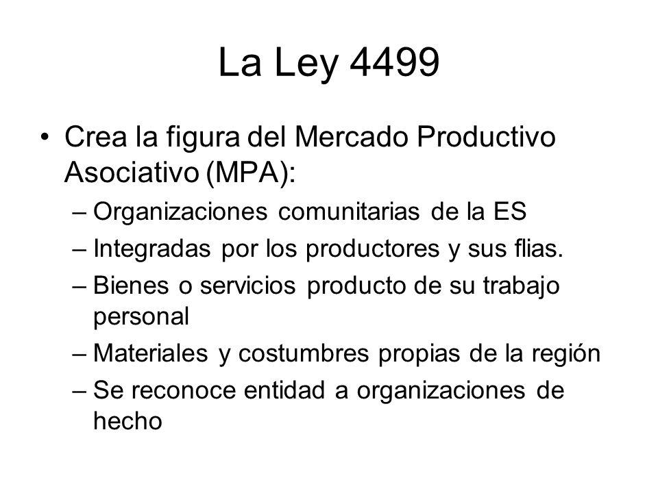 La Ley 4499 Crea la figura del Mercado Productivo Asociativo (MPA): –Organizaciones comunitarias de la ES –Integradas por los productores y sus flias.