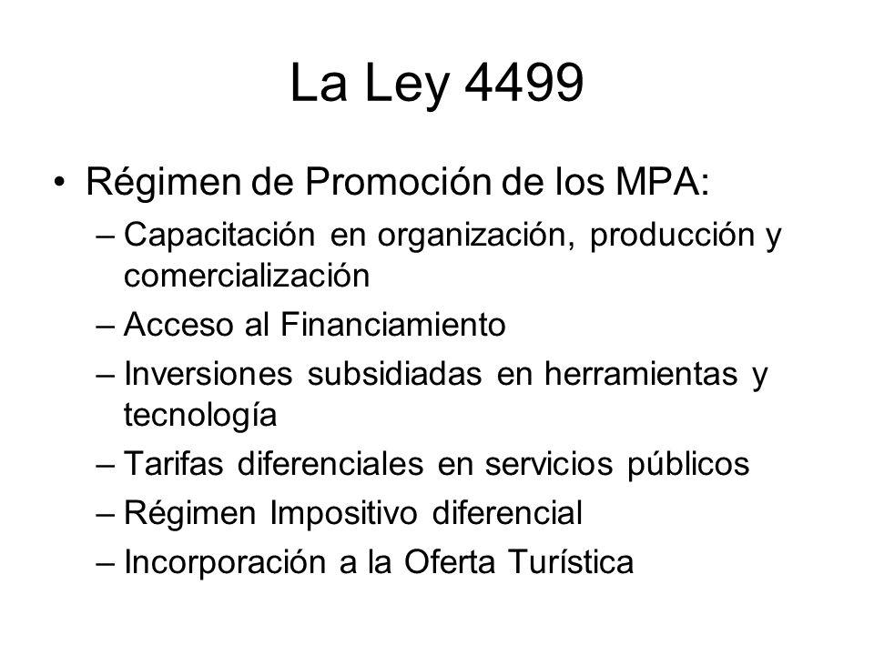 La Ley 4499 Régimen de Promoción de los MPA: –Capacitación en organización, producción y comercialización –Acceso al Financiamiento –Inversiones subsi