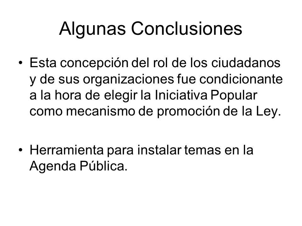 Algunas Conclusiones Esta concepción del rol de los ciudadanos y de sus organizaciones fue condicionante a la hora de elegir la Iniciativa Popular com