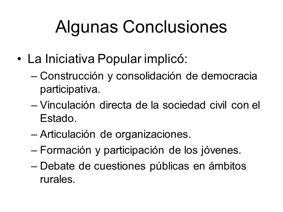 Algunas Conclusiones La Iniciativa Popular implicó: –Construcción y consolidación de democracia participativa. –Vinculación directa de la sociedad civ